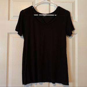 Black tee shirt with criss-cross neck detail